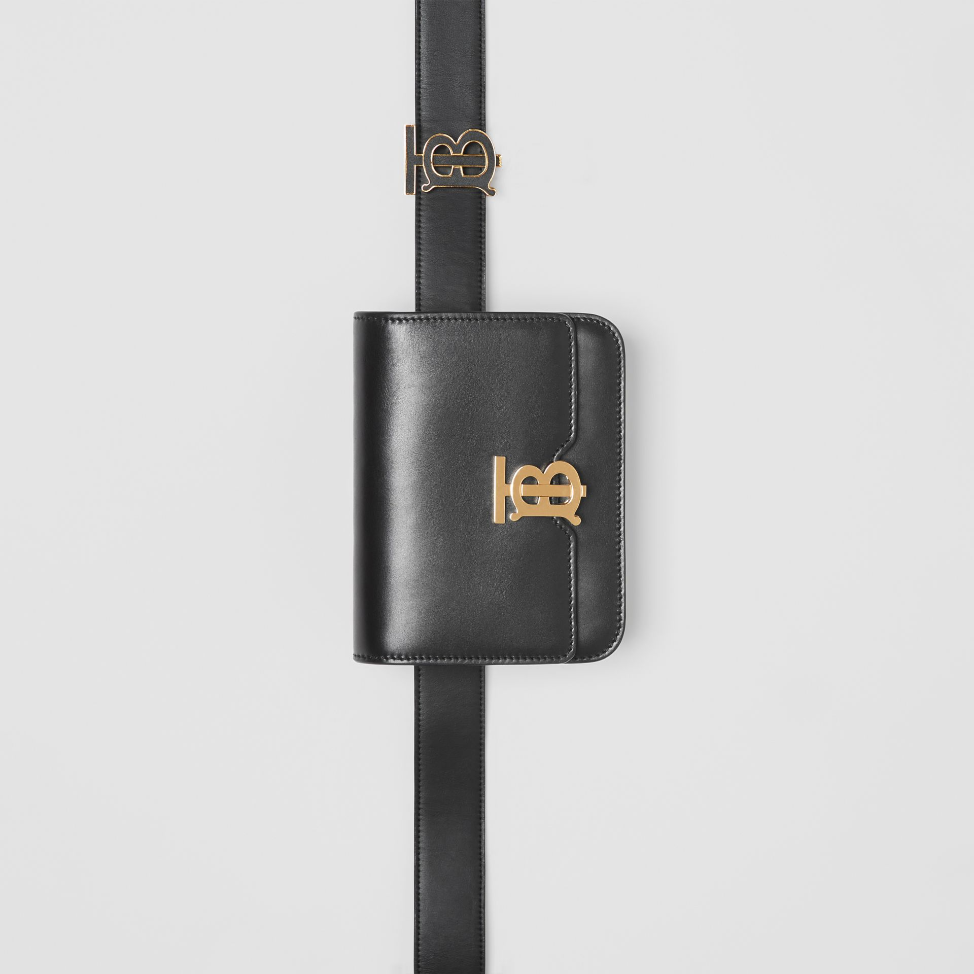 Belted Leather TB Bag in Black - Women | Burberry United Kingdom - gallery image 4