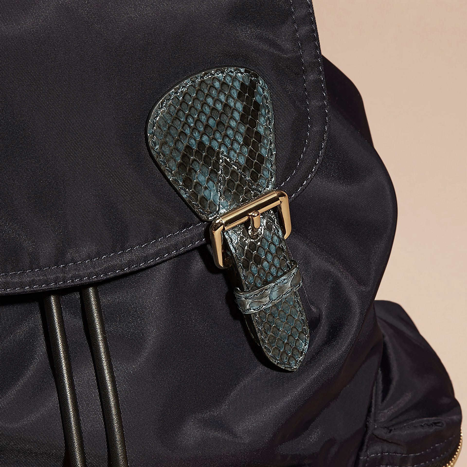 The Large Rucksack in Technical Nylon and Snakeskin in Ink Blue/mineral Blue - gallery image 2