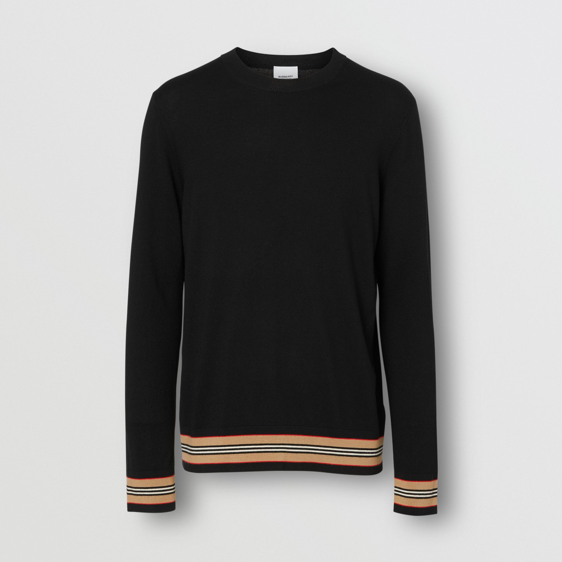 Icon Stripe Detail Merino Wool Sweater in Black - Men | Burberry United Kingdom - gallery image 3