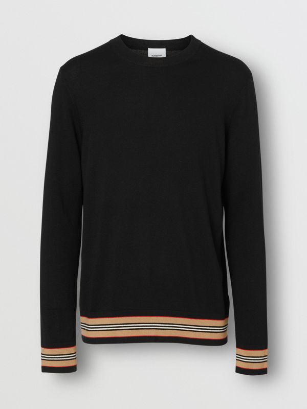 Icon Stripe Detail Merino Wool Sweater in Black - Men | Burberry United Kingdom - cell image 3