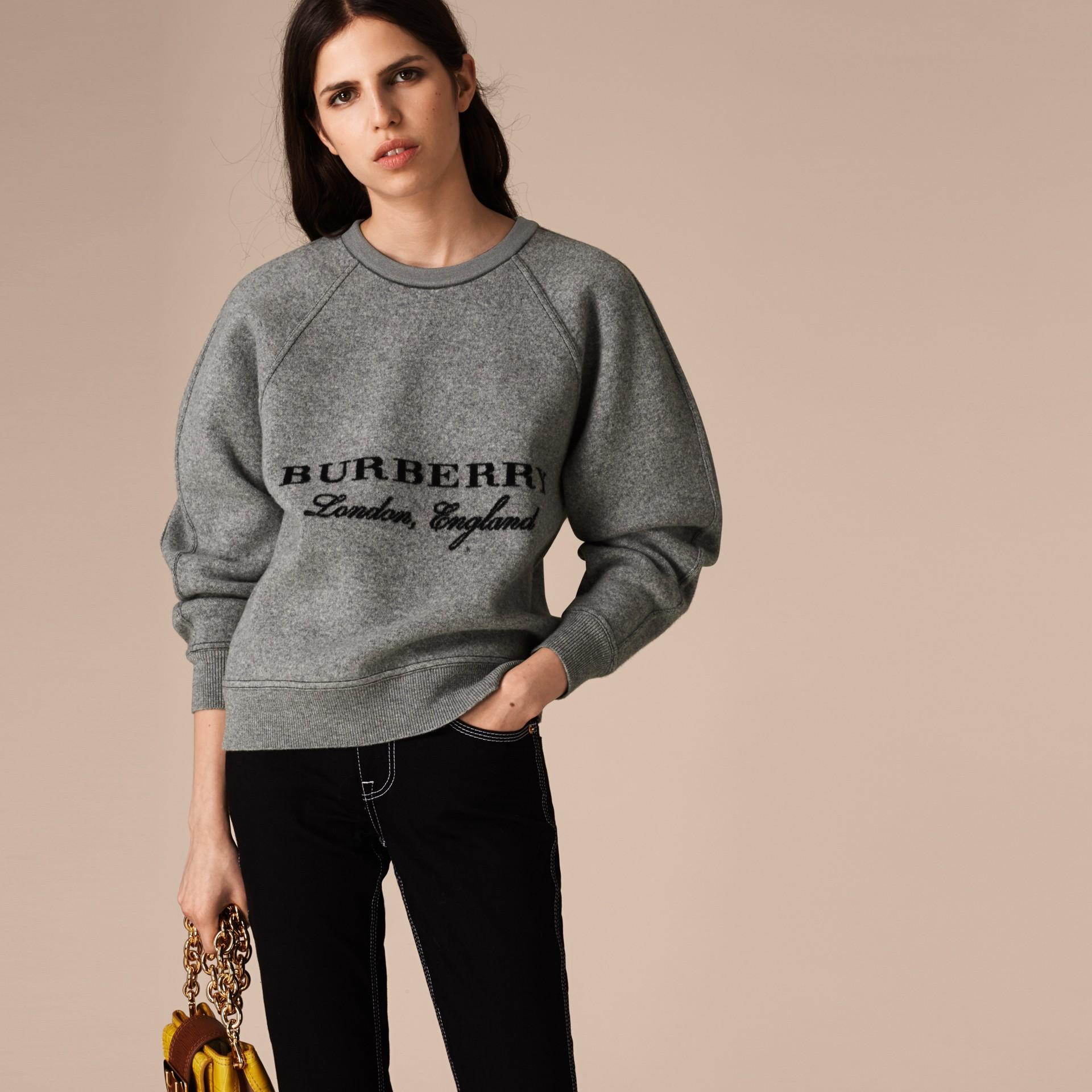 Grigio medio mélange/nero Pullover strutturato in lana e cashmere Grigio Medio Mélange/nero - immagine della galleria 3