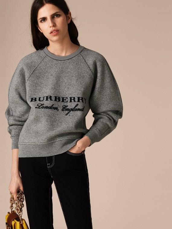 Midgrey melange/black Wool Cashmere Sculpted Sweatshirt Midgrey Melange/black - cell image 2