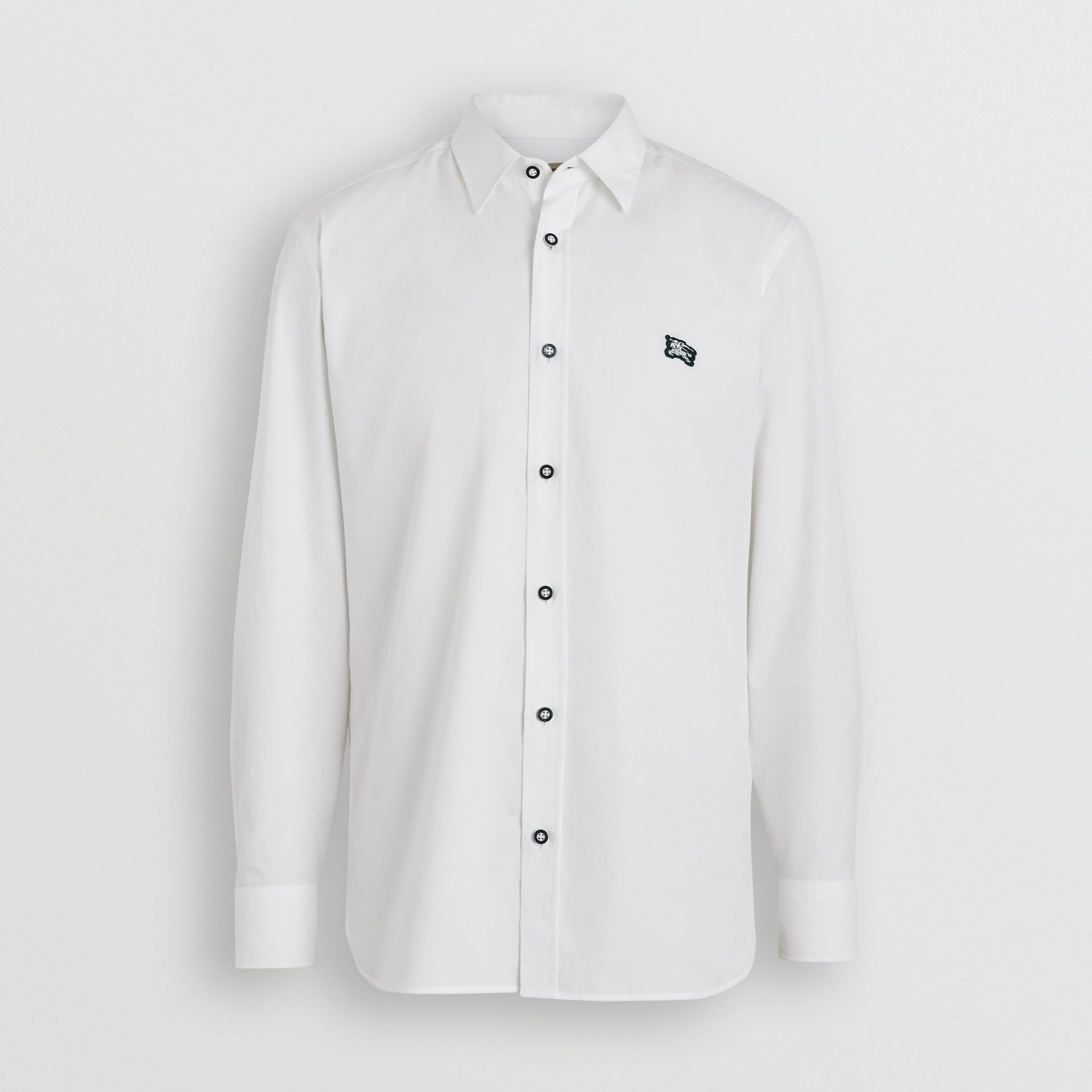 Contrast Button Stretch Cotton Shirt in White - Men | Burberry United Kingdom - gallery image 3