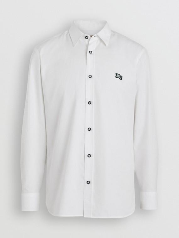 Hemd aus Stretchbaumwolle mit kontrastierenden Knöpfen (Weiss)