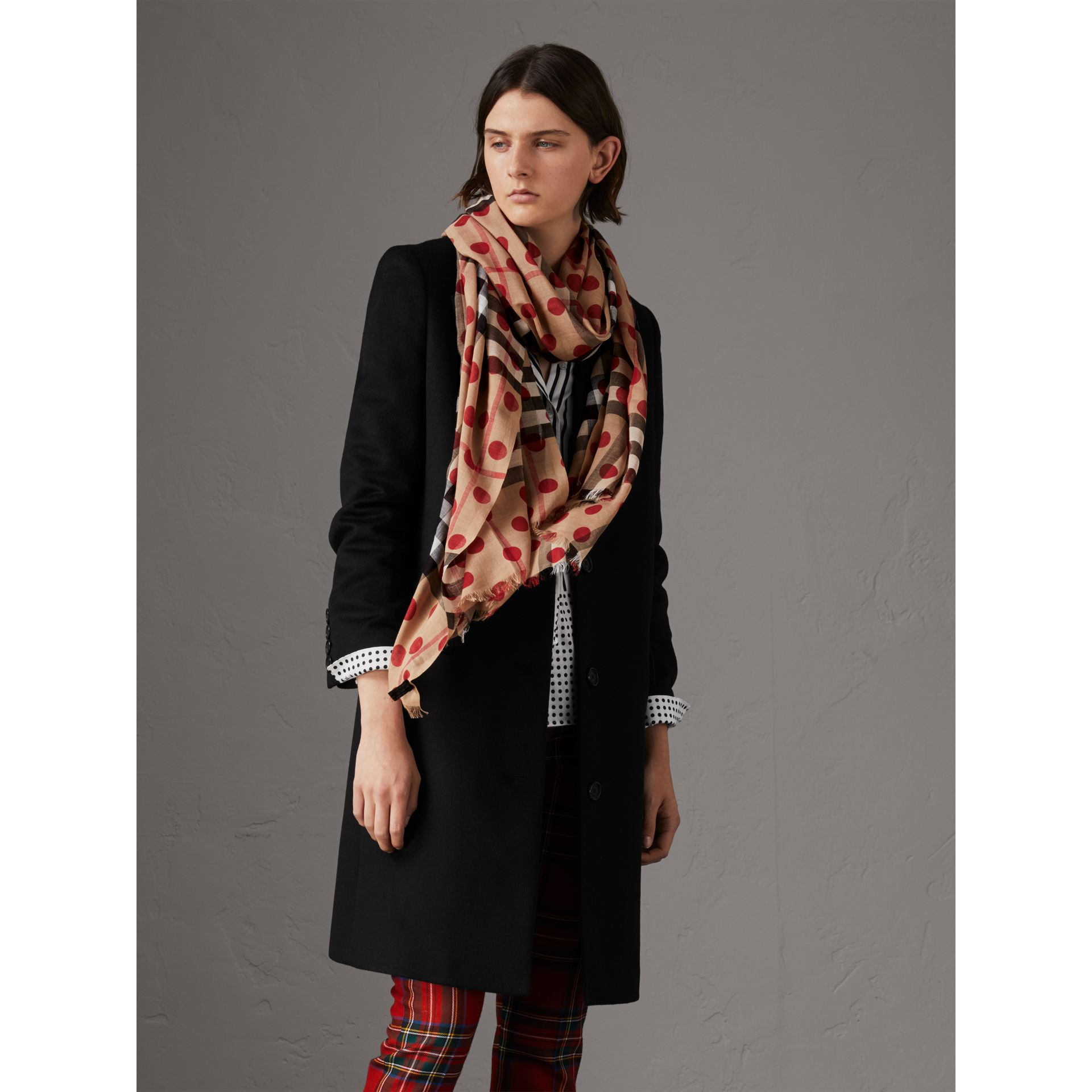 Spot Print and Check Lightweight Wool Silk Scarf in Military Red - Women | Burberry - gallery image 2
