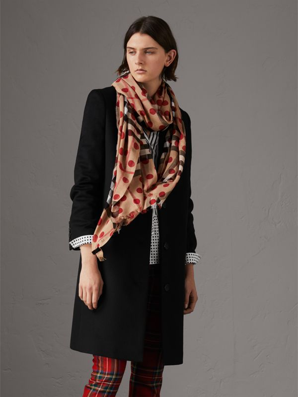 Spot Print and Check Lightweight Wool Silk Scarf in Military Red - Women | Burberry United Kingdom - cell image 2