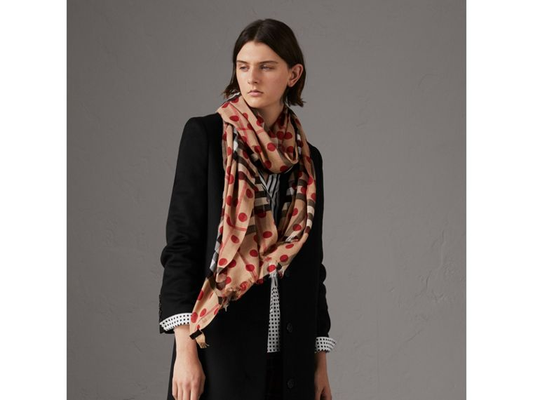Spot Print and Check Lightweight Wool Silk Scarf in Military Red | Burberry - cell image 2