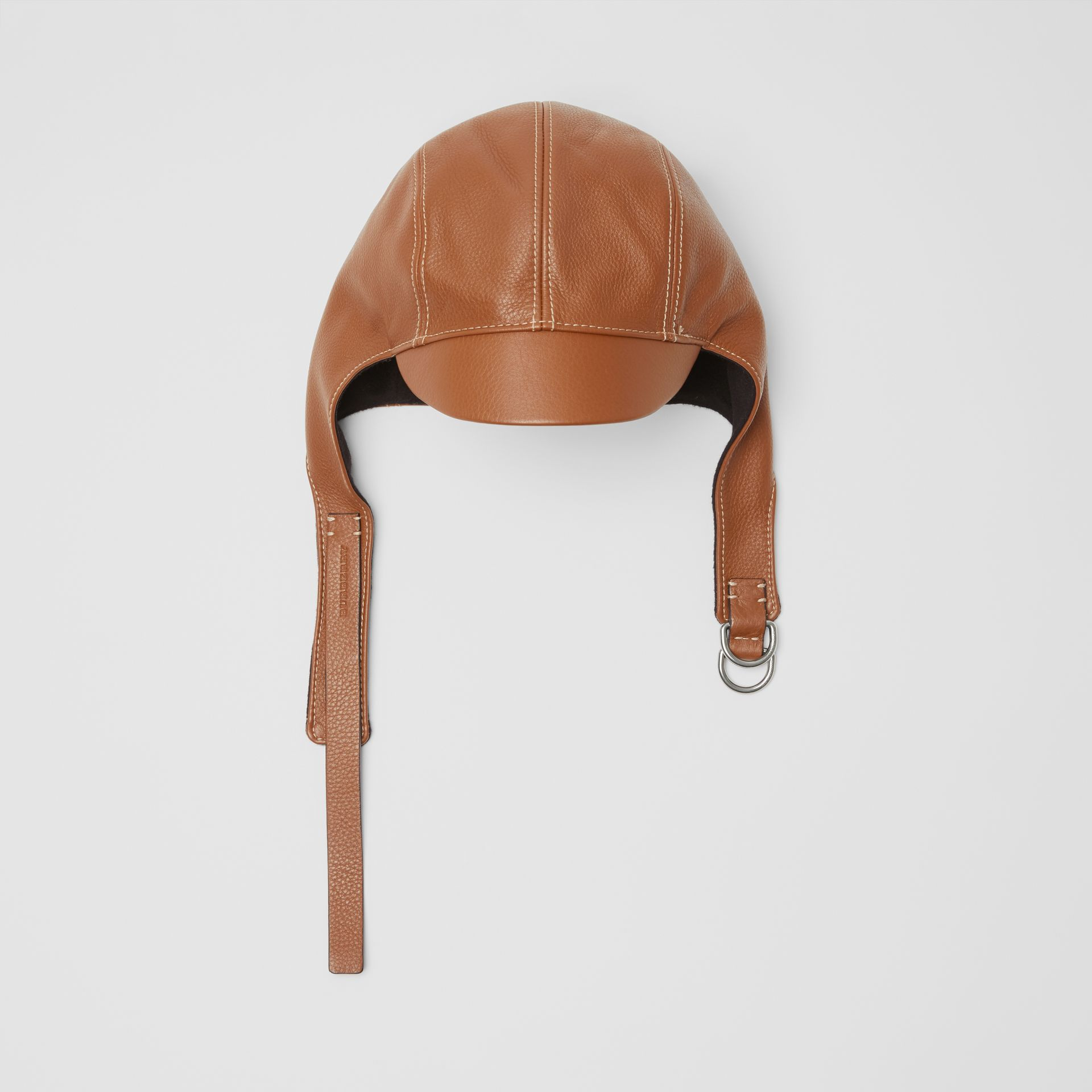 Leather Pilot Cap in Toffee | Burberry United Kingdom - gallery image 0