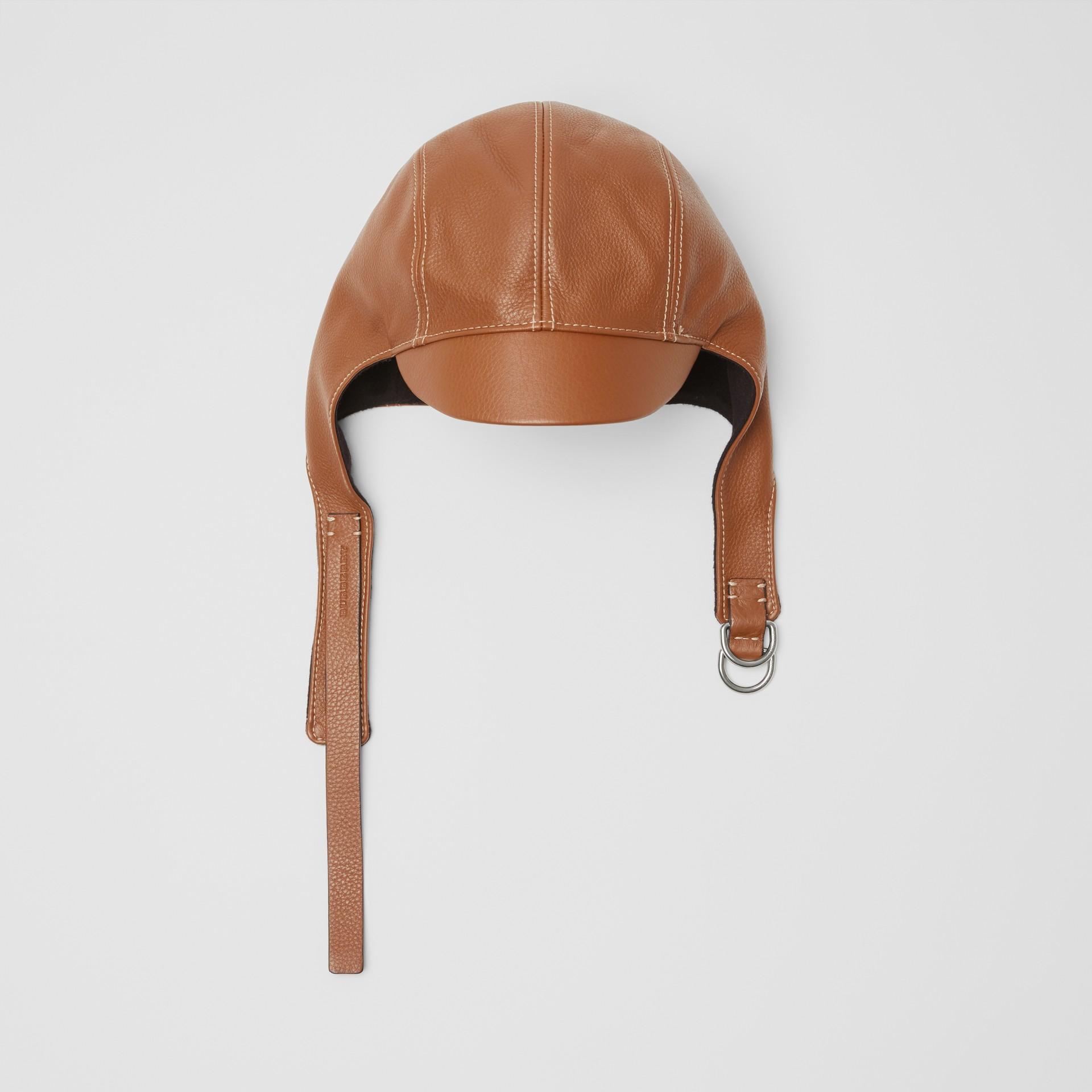 Chapéu de piloto de couro (Toffee) | Burberry - galeria de imagens 0