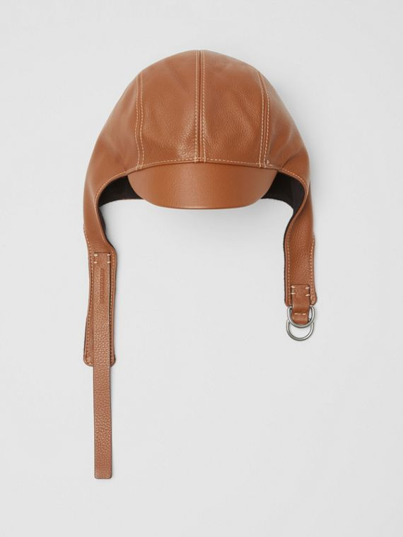 Leather Pilot Cap in Toffee