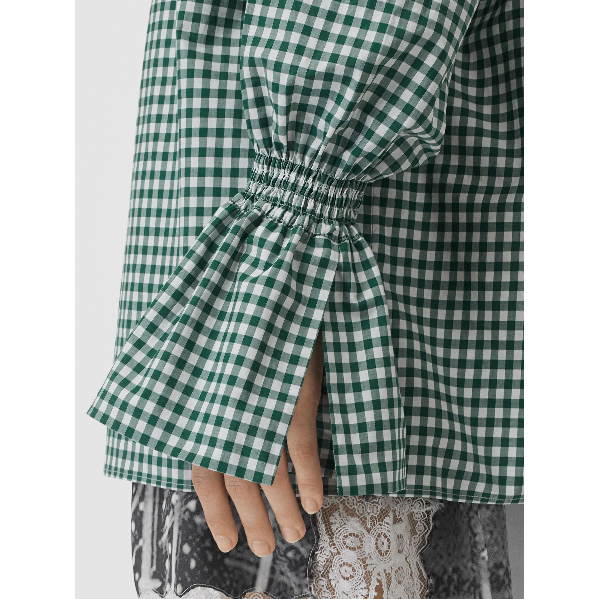 Gathered Sleeve Gingham Cotton Shirt in White/green - Women | Burberry - gallery image 1