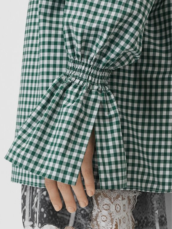 Gathered Sleeve Gingham Cotton Shirt in White/green - Women | Burberry - cell image 1