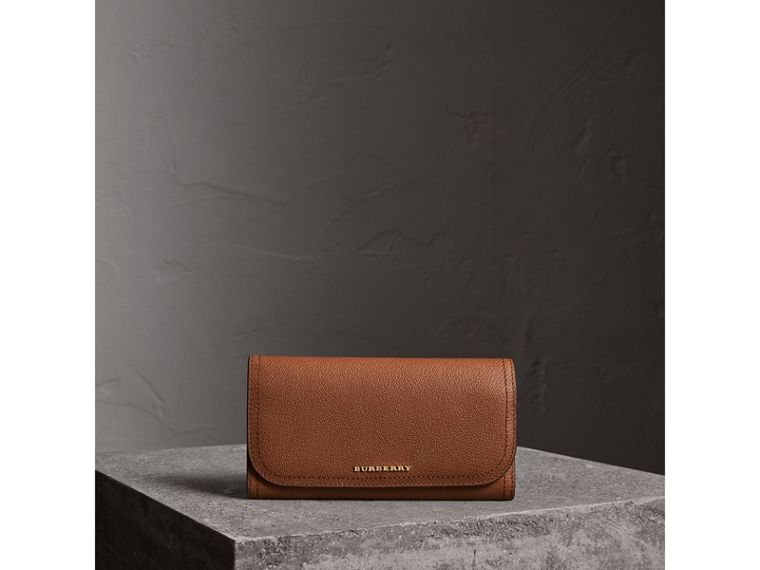 Two-tone Leather Continental Wallet and Coin Case in Bright Toffee/ Multi - Women | Burberry - cell image 1