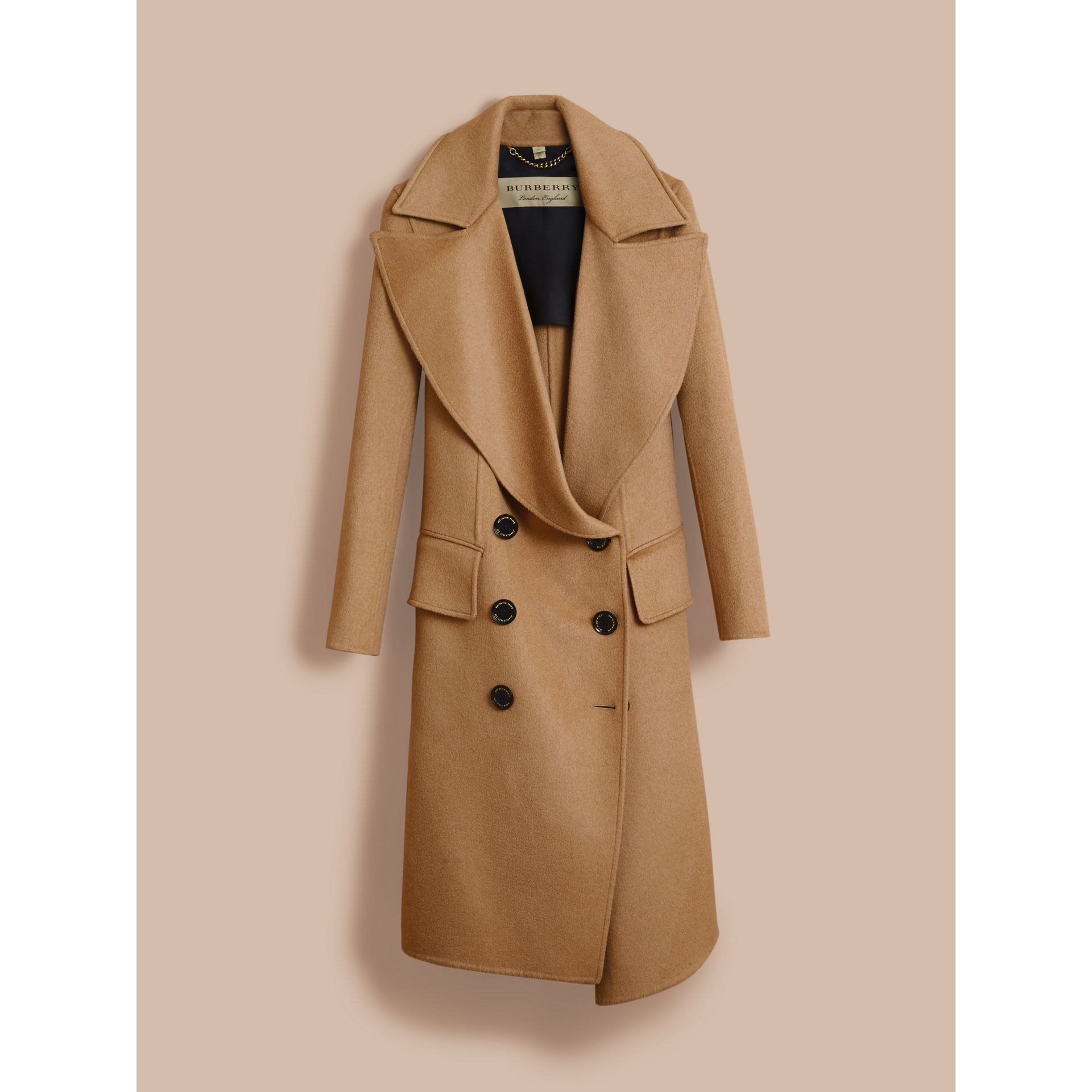 Draped Front Camel Hair and Wool Tailored Coat - Women | Burberry - gallery image 4