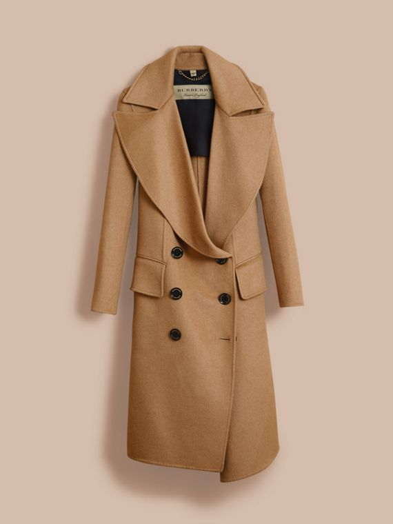 Draped Front Camel Hair and Wool Tailored Coat - Women | Burberry - cell image 3