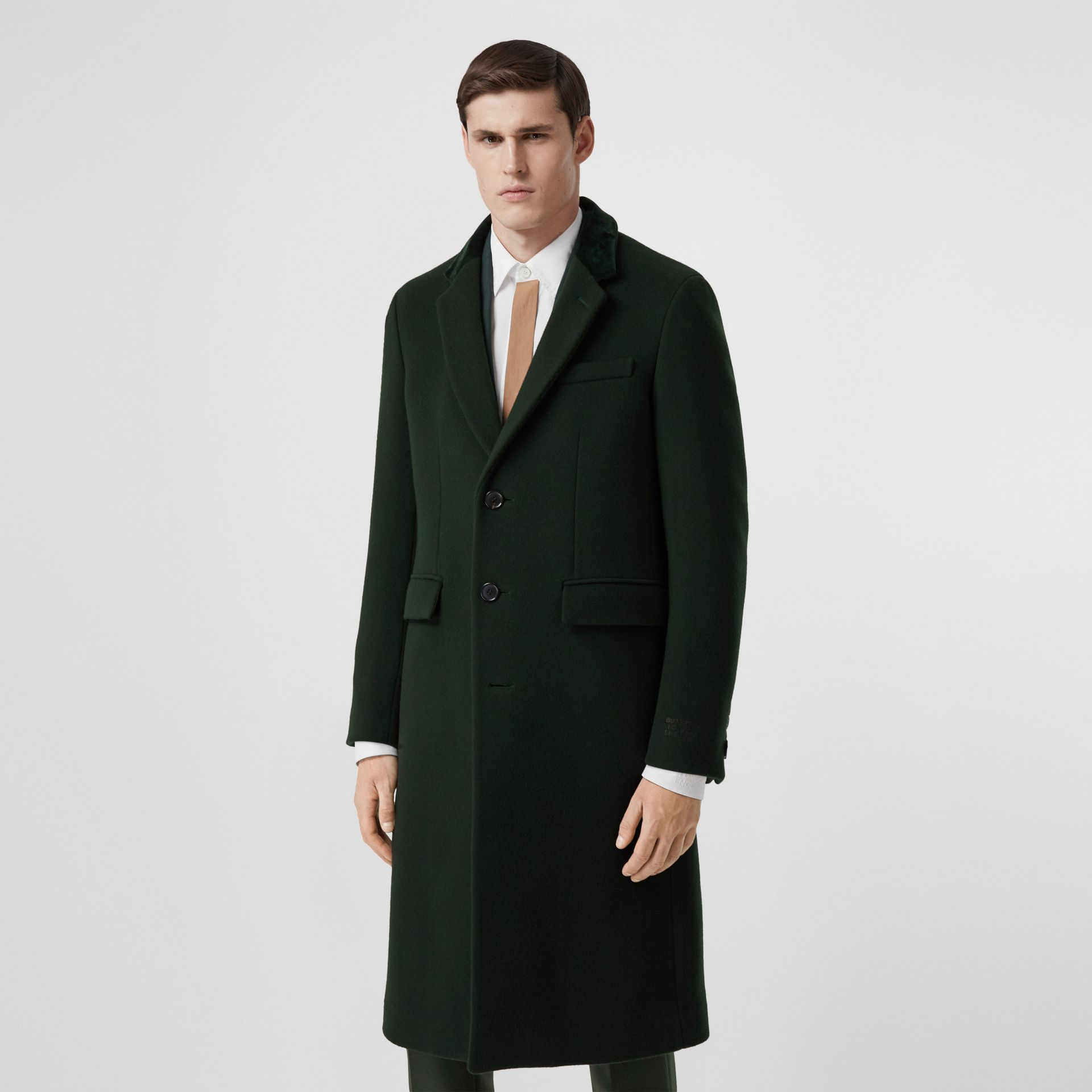 Velvet Trim Wool Cashmere Tailored Coat in Dark Pine Green - Men | Burberry - gallery image 6