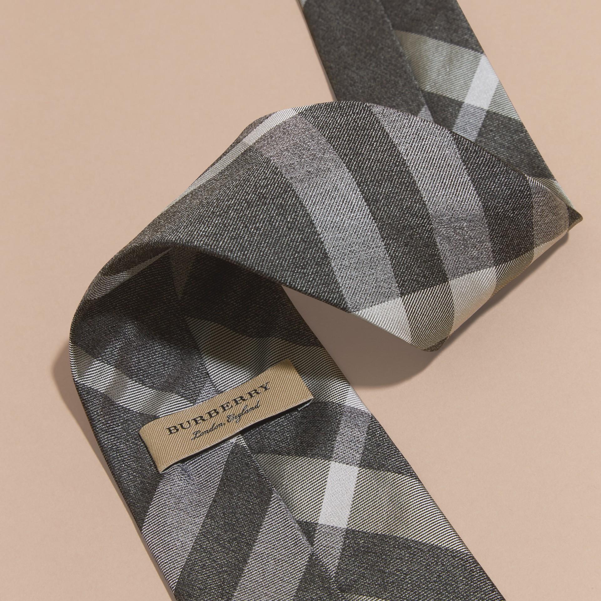 Light grey melange Classic Cut Check Silk Tie Light Grey Melange - gallery image 2