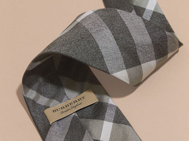 Light grey melange Classic Cut Check Silk Tie Light Grey Melange - cell image 1
