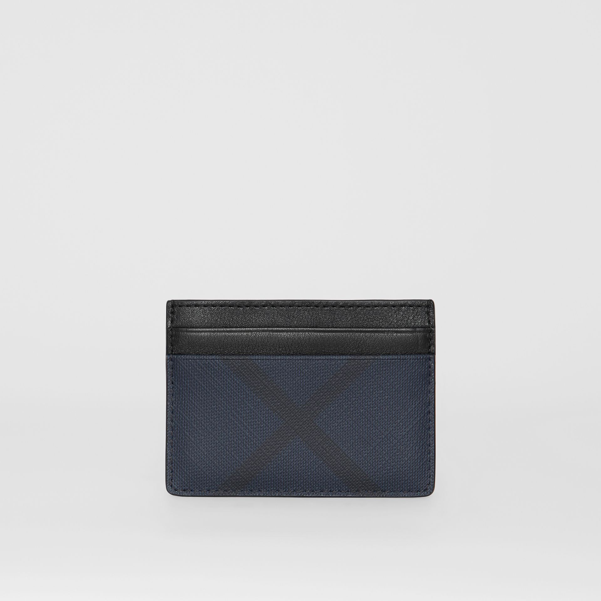 London Check and Leather Card Case in Navy/black - Men | Burberry - gallery image 4
