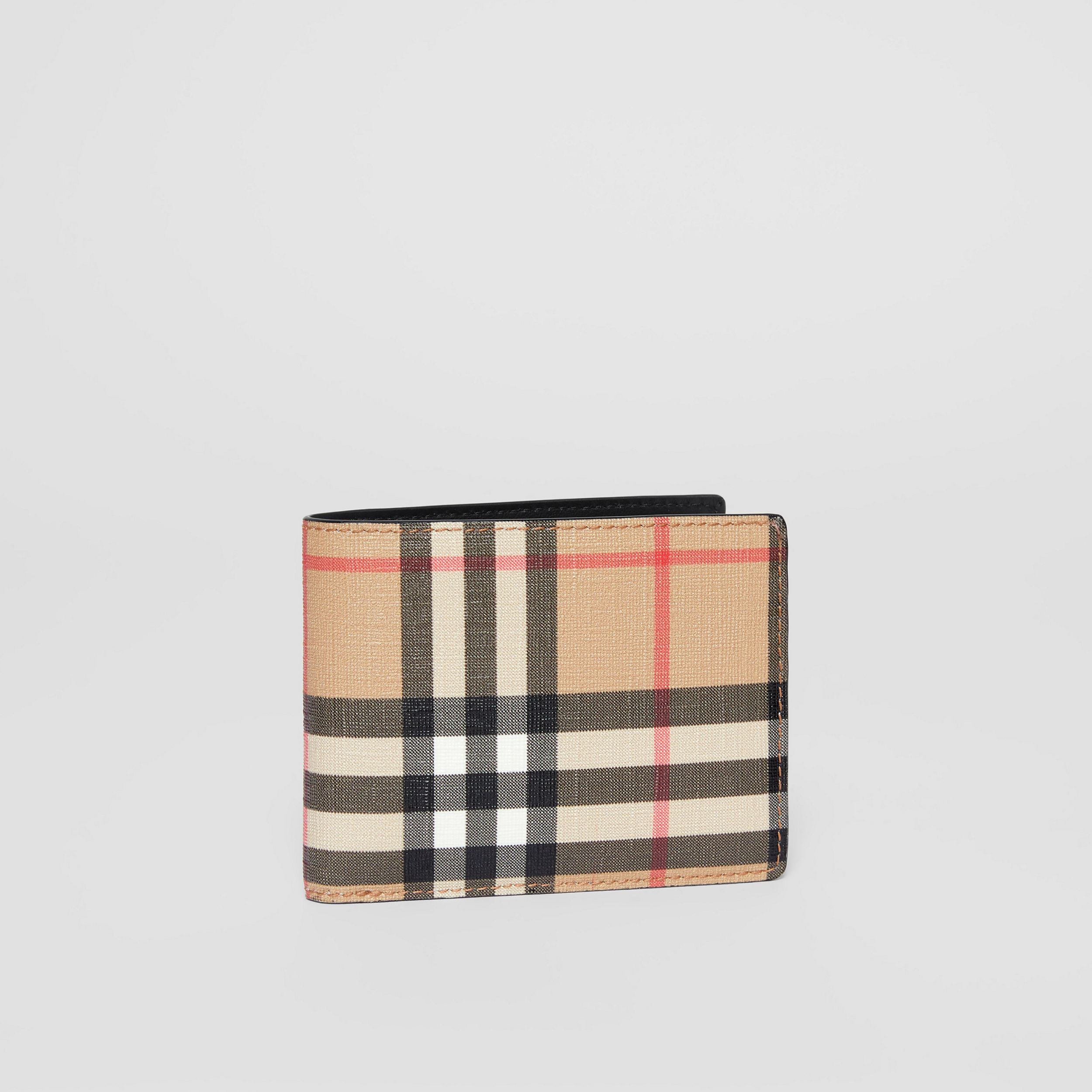 Vintage Check E-canvas and Leather Bifold Wallet in Archive Beige - Men | Burberry - 4