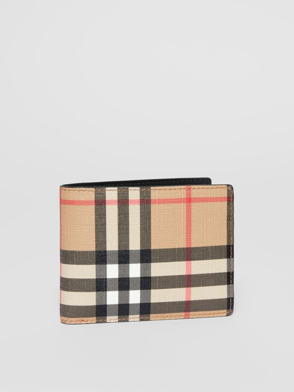 Vintage Check E-canvas and Leather Bifold Wallet in Archive Beige - Men | Burberry - cell image 3