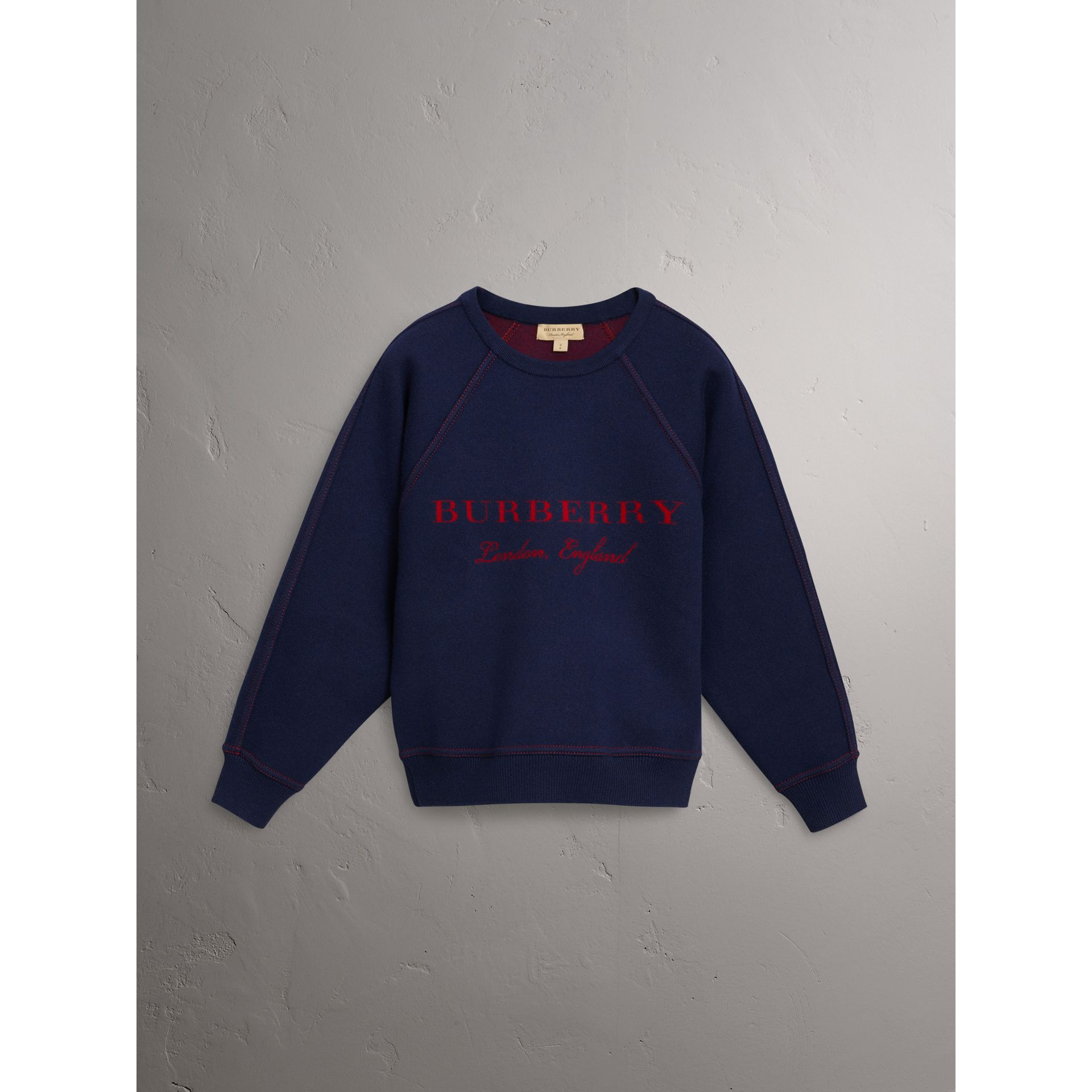 Topstitch Detail Wool Cashmere Blend Sweater in Navy - Women | Burberry United States - gallery image 4