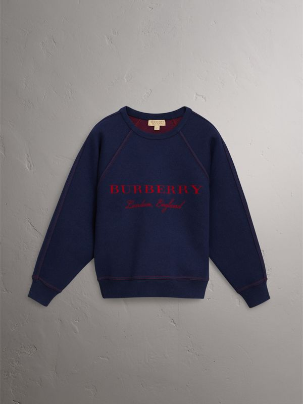 Topstitch Detail Wool Cashmere Blend Sweater in Navy - Women | Burberry - cell image 3