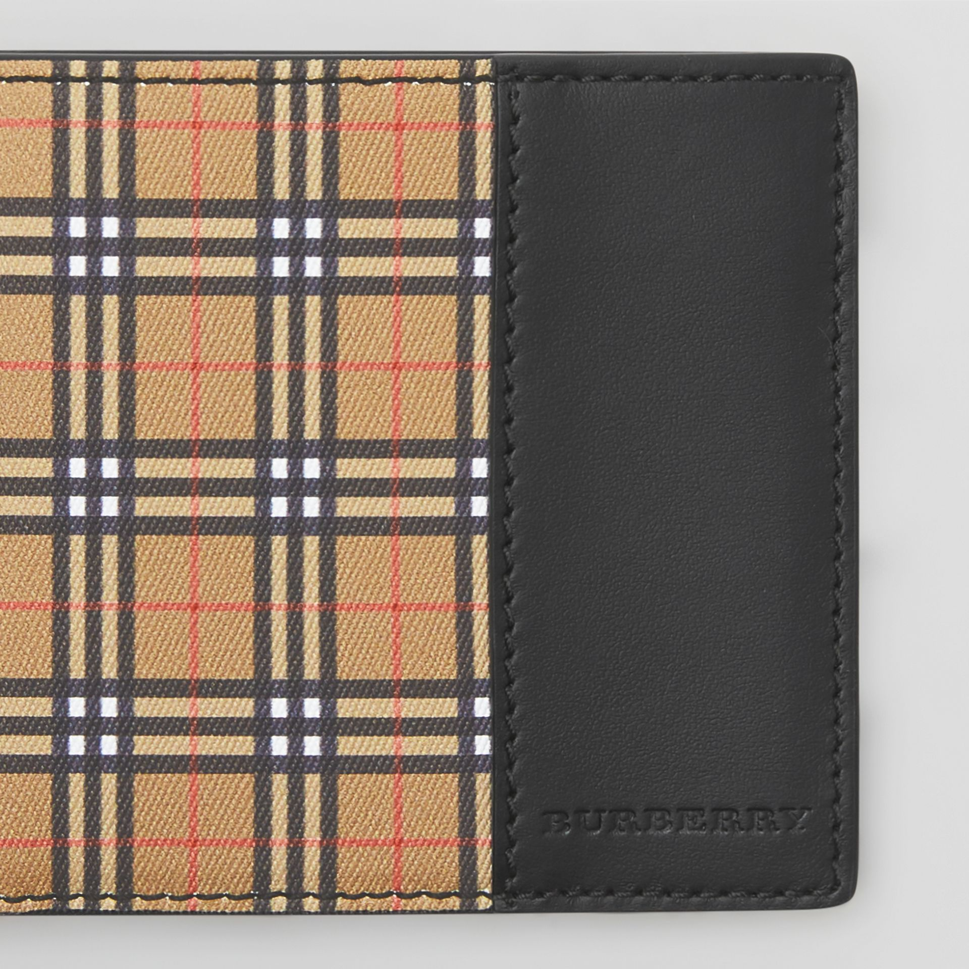 Small Scale Check and Leather ID Wallet in Antique Yellow/black - Men | Burberry - gallery image 1