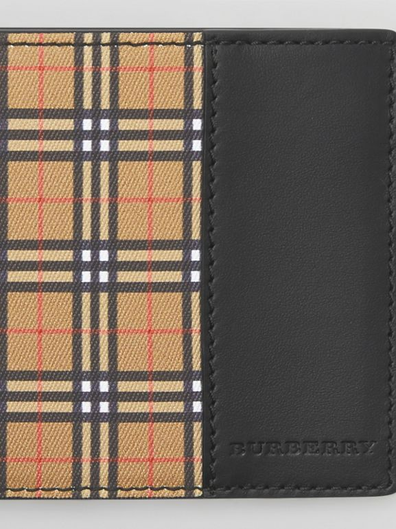 Small Scale Check and Leather ID Wallet in Antique Yellow/black - Men | Burberry - cell image 1