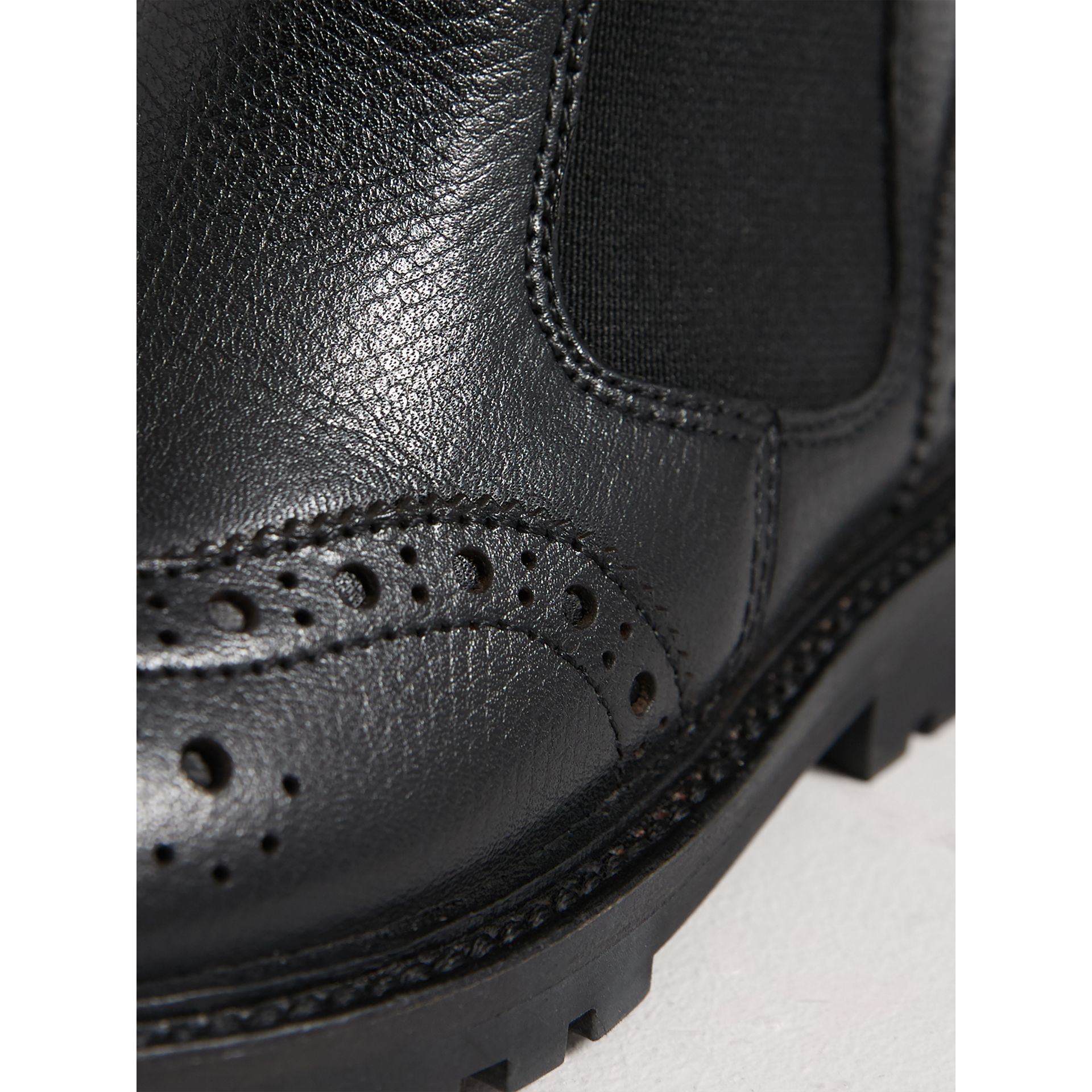 Leather Brogue Chelsea Boots in Charcoal/red | Burberry - gallery image 1