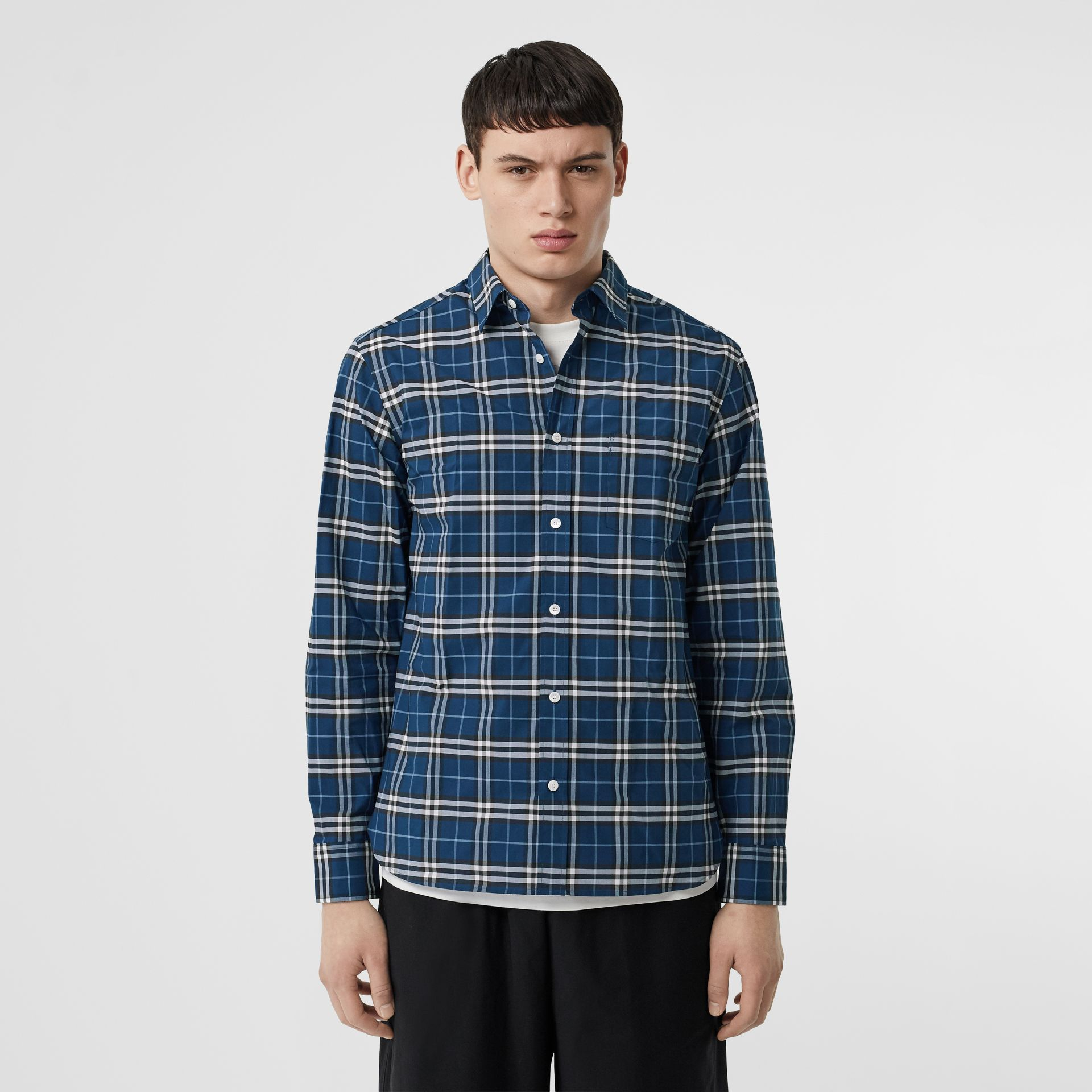 Check Stretch Cotton Shirt in Steel Blue - Men | Burberry - gallery image 4