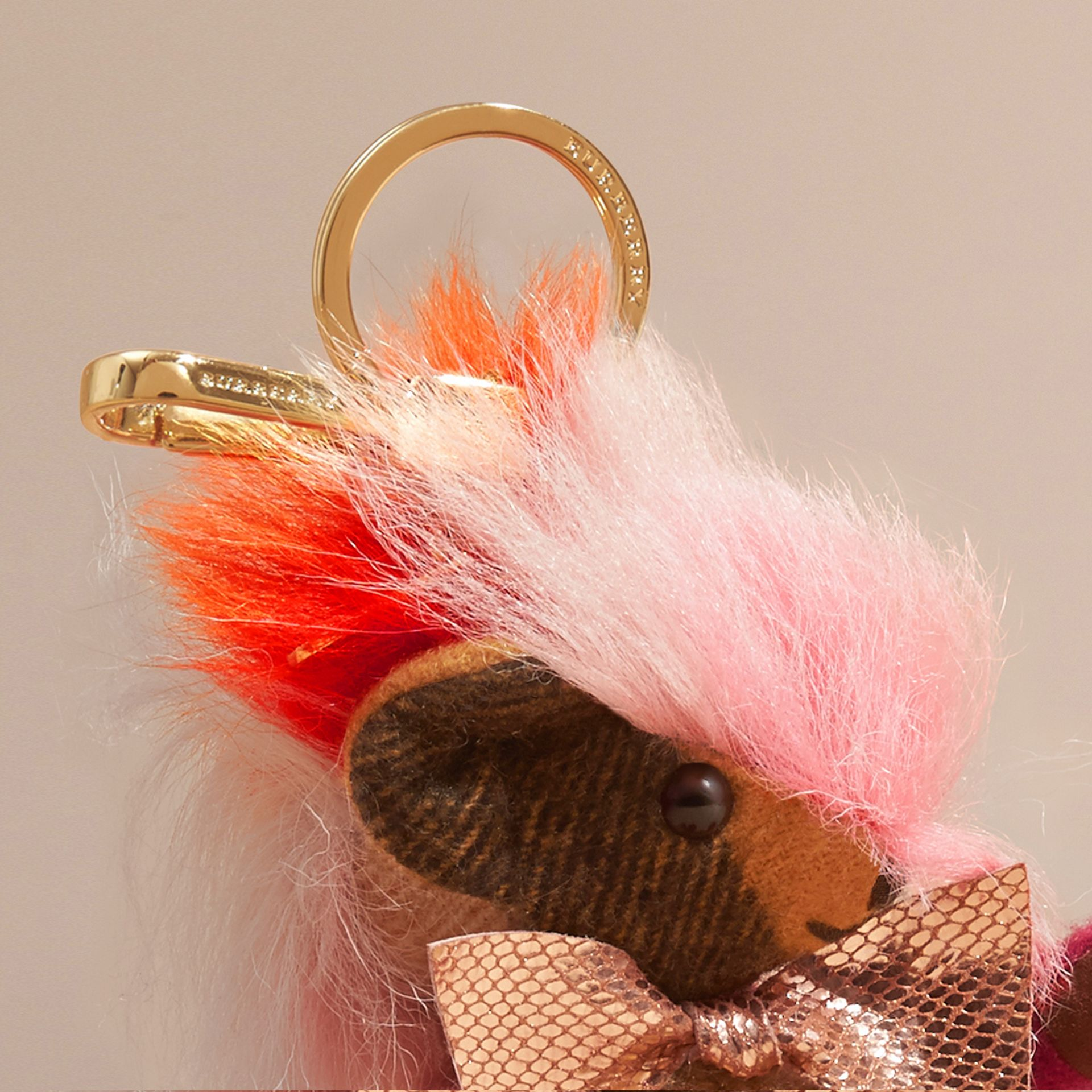 Thomas Bear Charm with Rainbow Shearling Trim in Ash Rose - Women | Burberry - gallery image 1