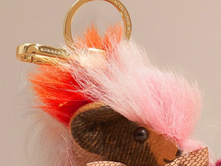 Thomas Bear Charm with Rainbow Shearling Trim Ash Rose - cell image 1