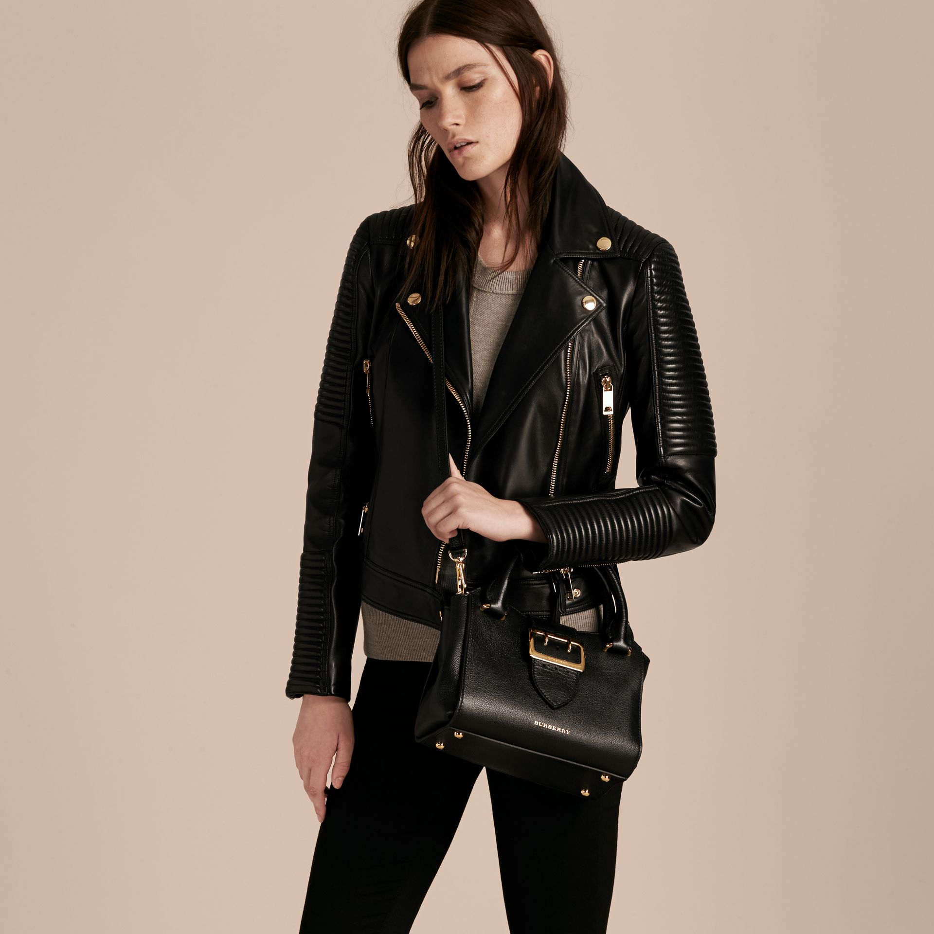 The Small Buckle Tote in Grainy Leather Black - gallery image 3