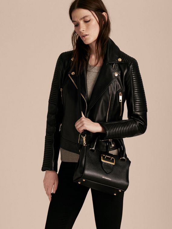 The Small Buckle Tote in Grainy Leather Black - cell image 2