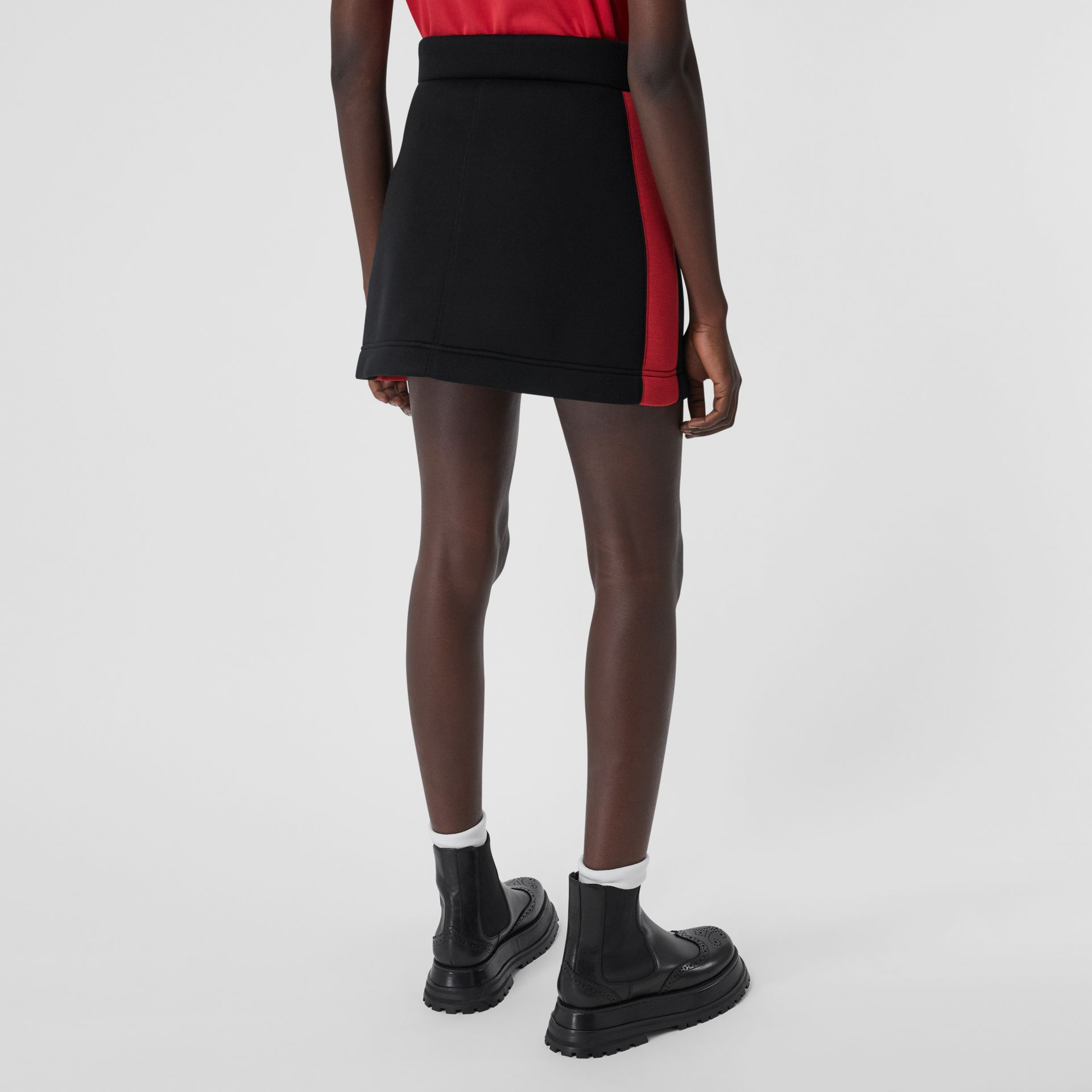 Logo Detail Neoprene Mini Skirt in Black - Women | Burberry Canada - gallery image 2