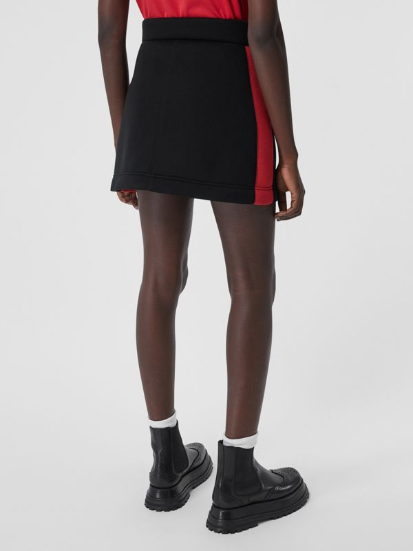 Logo Detail Neoprene Mini Skirt in Black - Women | Burberry - cell image 2
