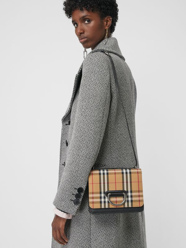The Small Vintage Check and Leather D-ring Bag in Black/antique Yellow - Women | Burberry - cell image 3