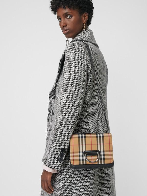 Petit sac TheD-ring en cuir et à motif Vintage check (Noir/jaune Antique) - Femme | Burberry - cell image 3