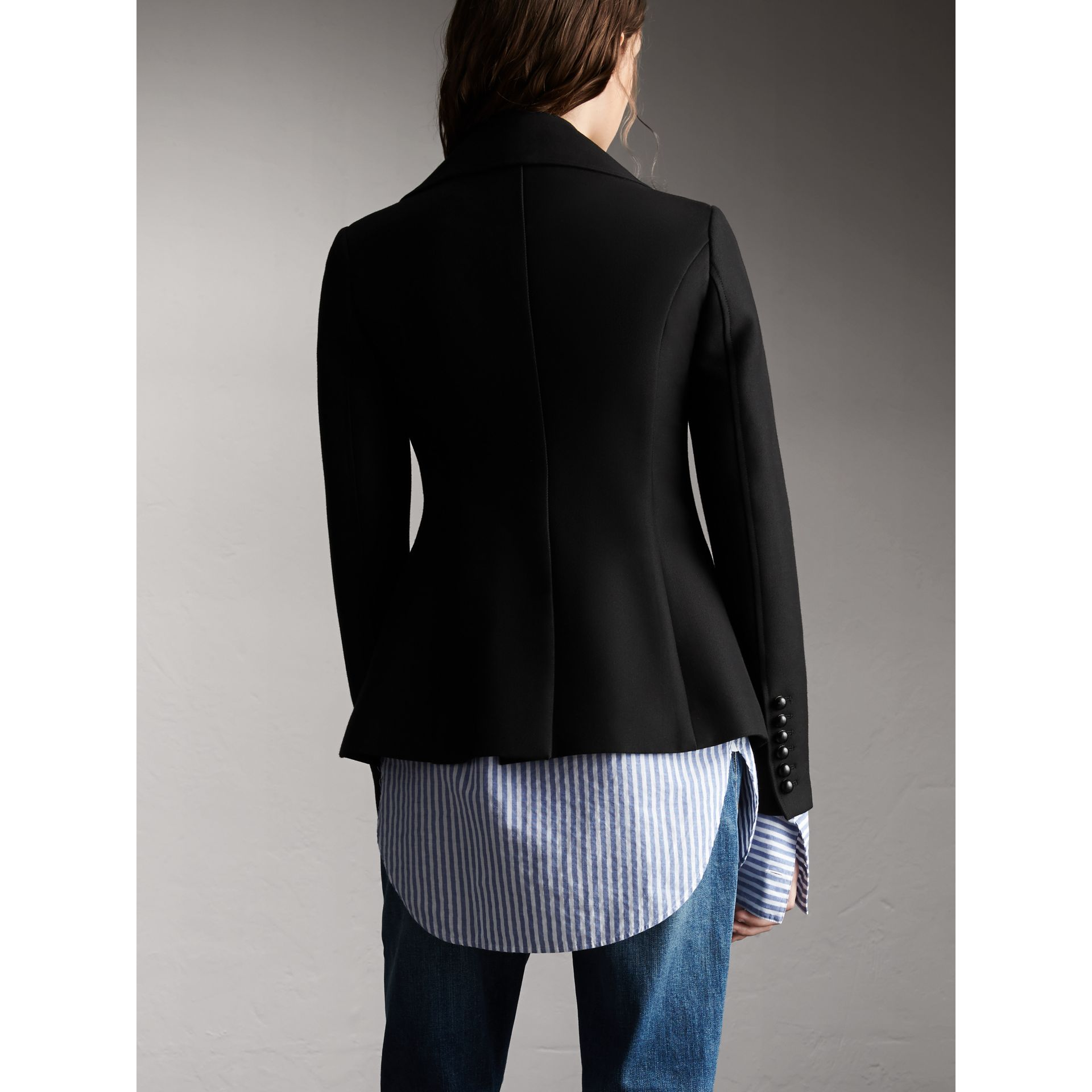 Wool Cotton Blend Tailored Double-breasted Jacket - Women | Burberry - gallery image 3