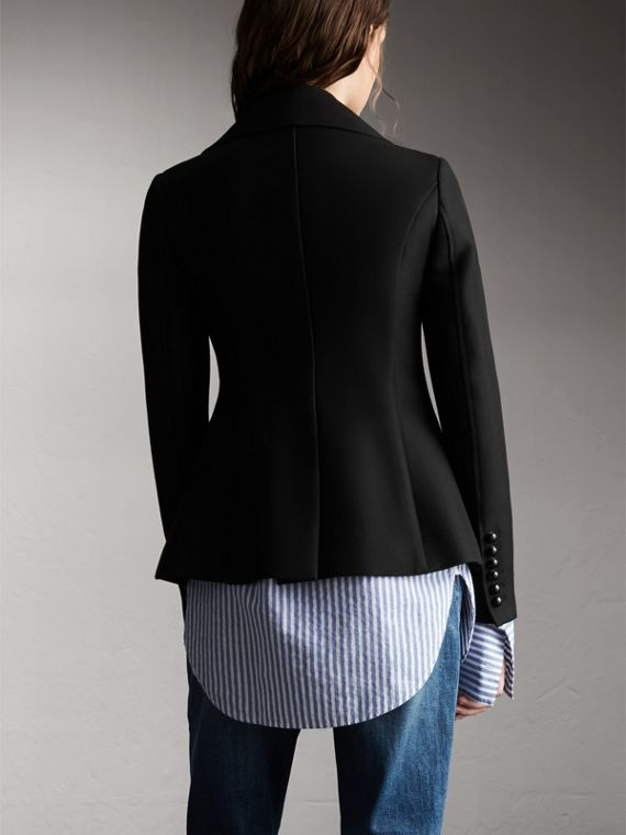 Wool Cotton Blend Tailored Double-breasted Jacket in Black - Women | Burberry - cell image 2