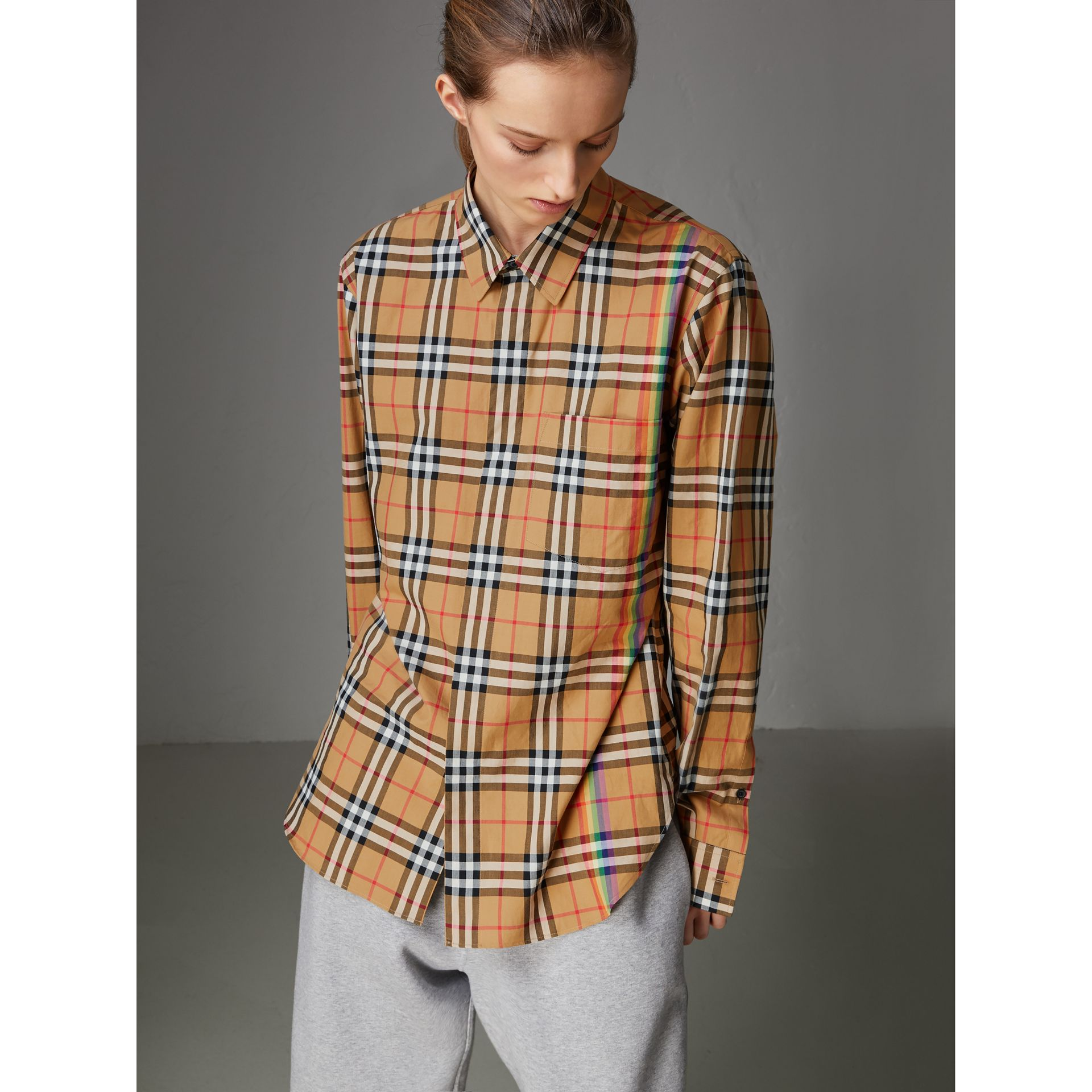 Rainbow Vintage Check Cotton Shirt in Antique Yellow - Women | Burberry Australia - gallery image 4