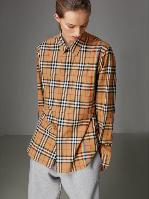 Rainbow Vintage Check Cotton Shirt in Antique Yellow