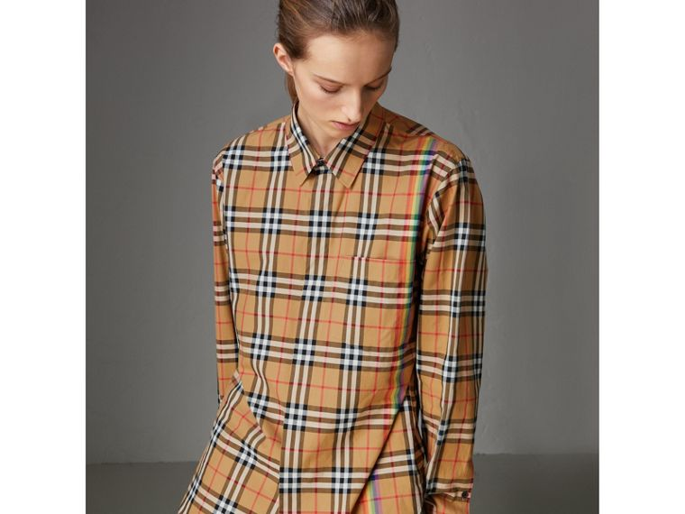 Rainbow Vintage Check Cotton Shirt in Antique Yellow - Women | Burberry United Kingdom - cell image 4