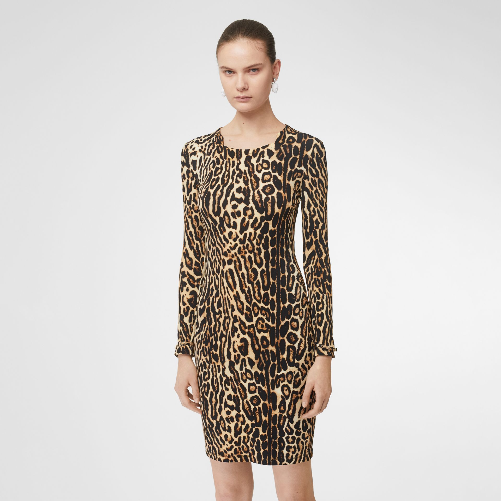 Leopard Print Stretch Jersey Mini Dress in Camel - Women | Burberry - gallery image 4
