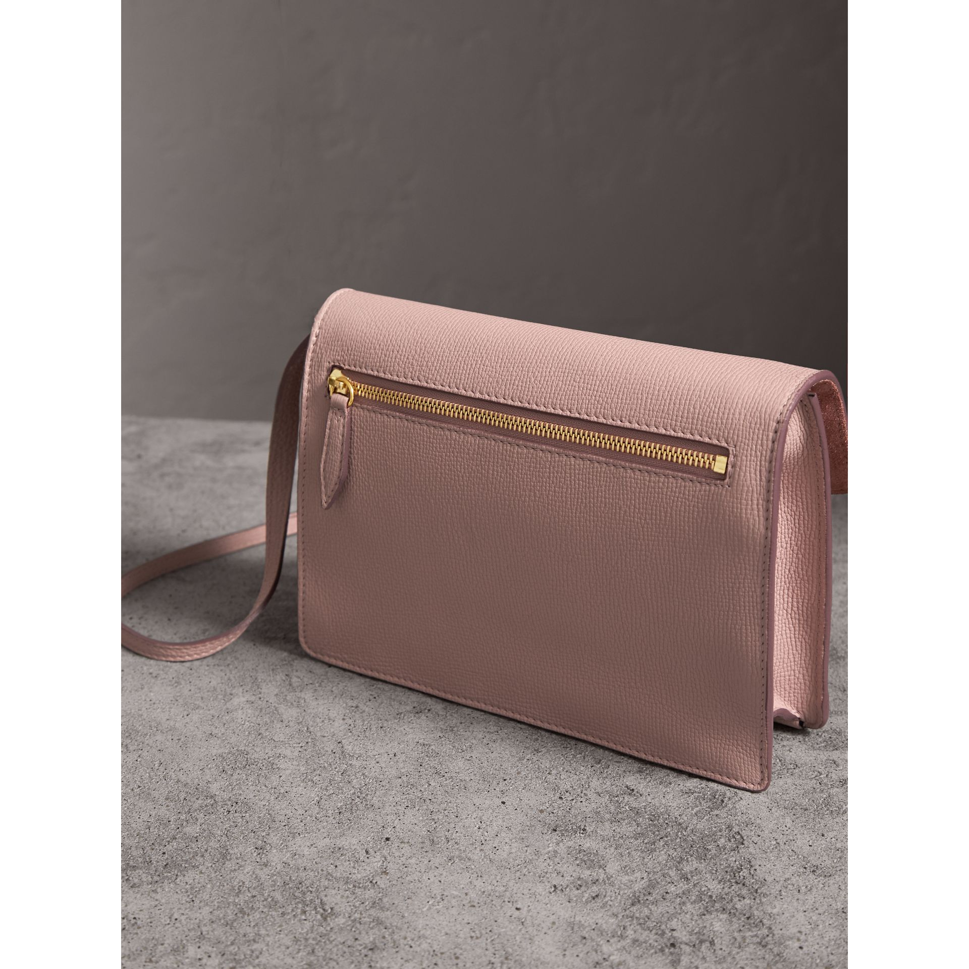 Small Leather and House Check Crossbody Bag in Pale Orchid - Women | Burberry Singapore - gallery image 4