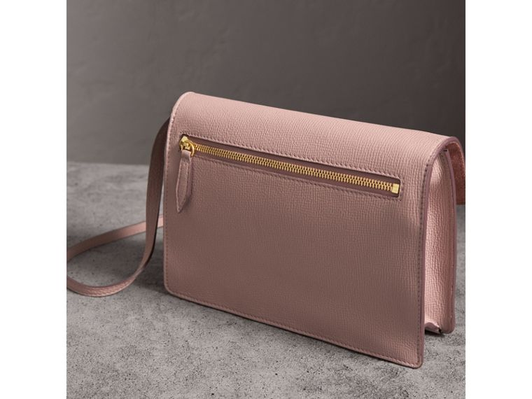 Small Leather and House Check Crossbody Bag in Pale Orchid - Women | Burberry Singapore - cell image 4