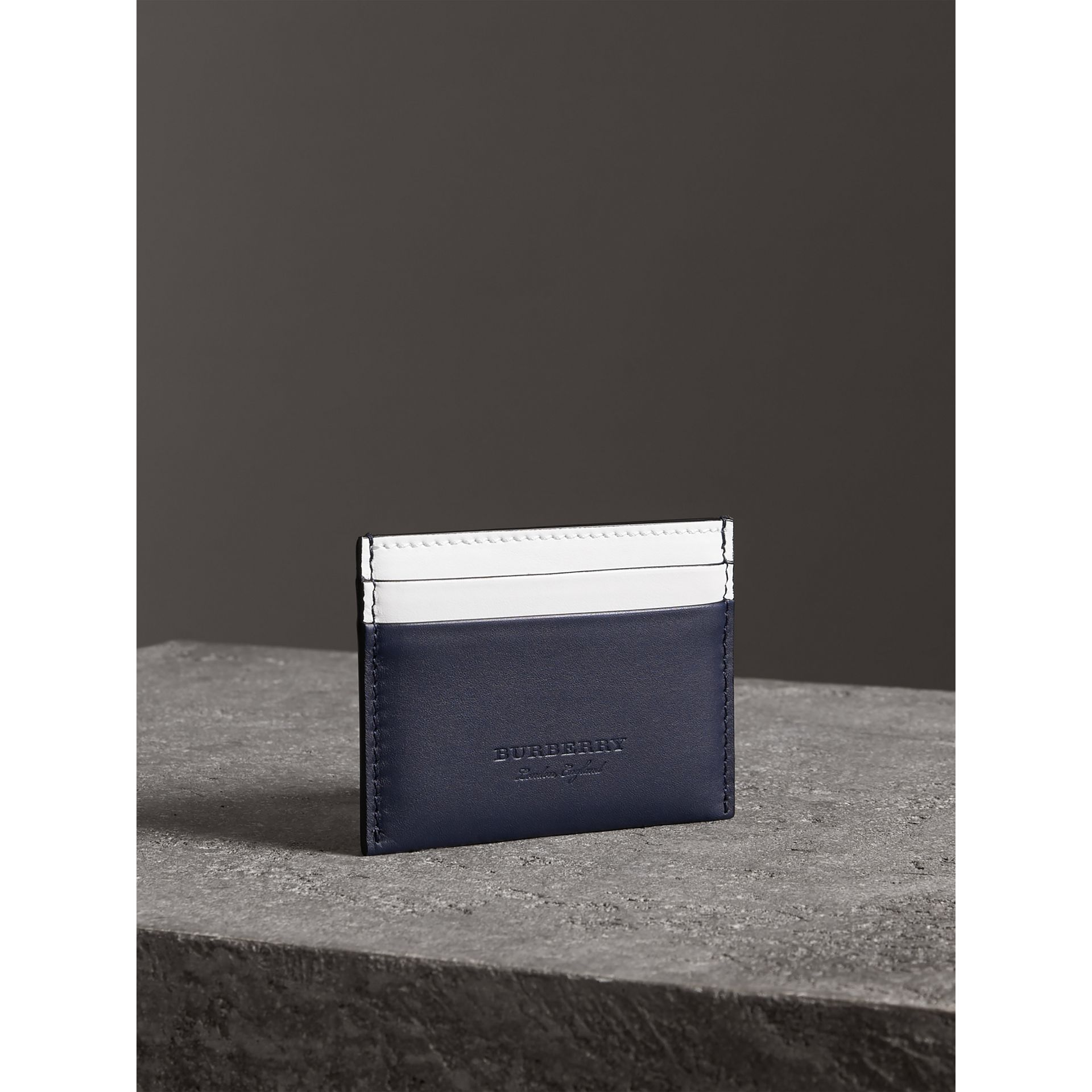Two-tone Leather Card Case in Mid Indigo | Burberry - gallery image 1