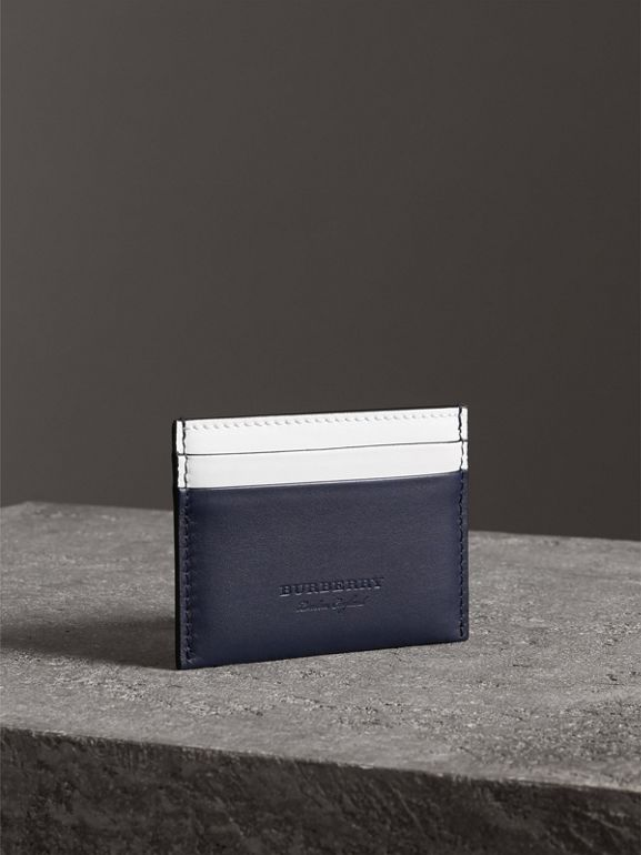 Two-tone Leather Card Case in Mid Indigo | Burberry - cell image 1