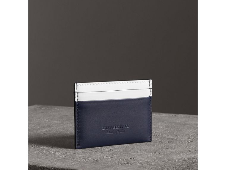 Two-tone Leather Card Case in Mid Indigo - Women | Burberry United States - cell image 1